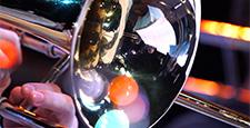 Closeup film of fragment trumpet. Instrument