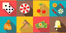 Casino icons set, flat style