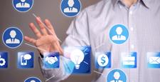 Businessman touch idea icon