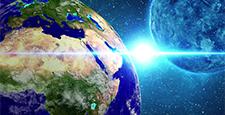Planet Earth in universe or space. Loop