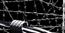 Barbwire on black background