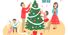 クリスマスツリーと家族1