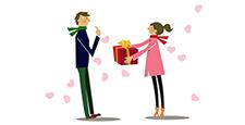 禮品。情人節。禮品。從女人到男人。