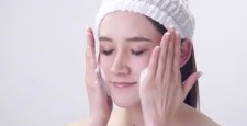 Beauty image Young lady foam cleansing scene