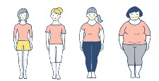 4 women of different body types