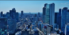 Scenery of Osaka and flow of cars Move left