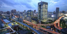 Tokyo capital high interchange twilight timelapse, zoom out